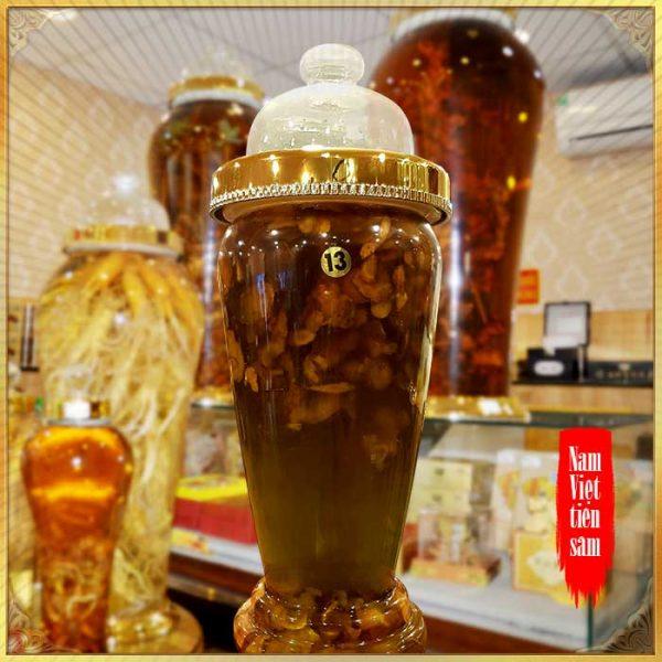 Bình 700gr sâm Ngọc Linh thái lát tẩm mật ong 6 lít NS640